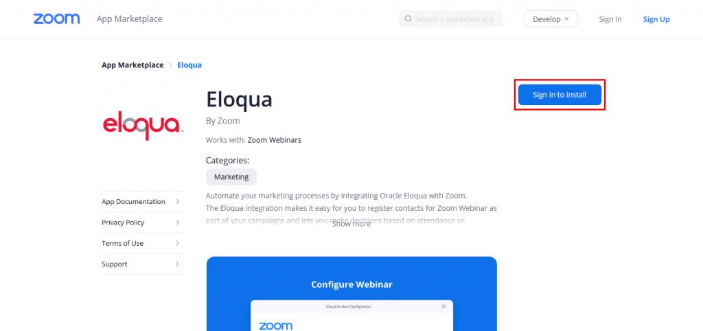 Zoom App Marketplaceの「Eloqua by Zoom」ページ。
