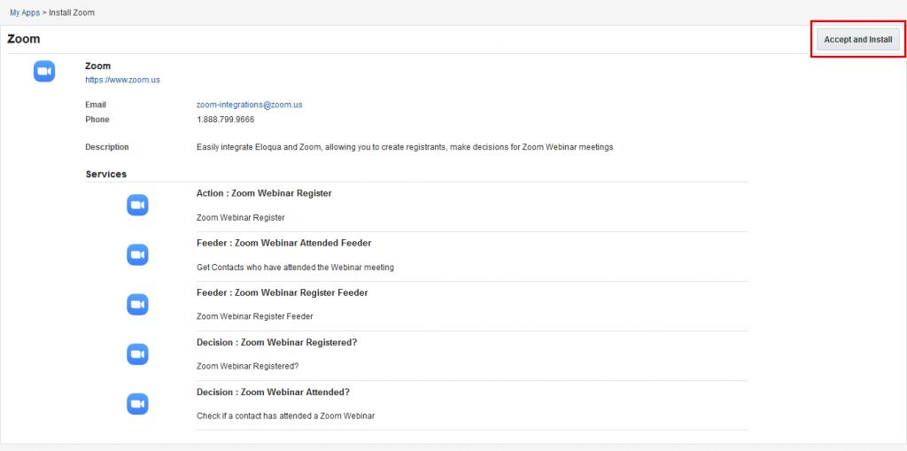 Eloquaのアプリインストールプロセス。[受け入れてインストール]をクリックする。